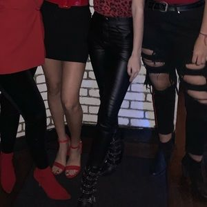 Zara Pants - Black Leather Jeans